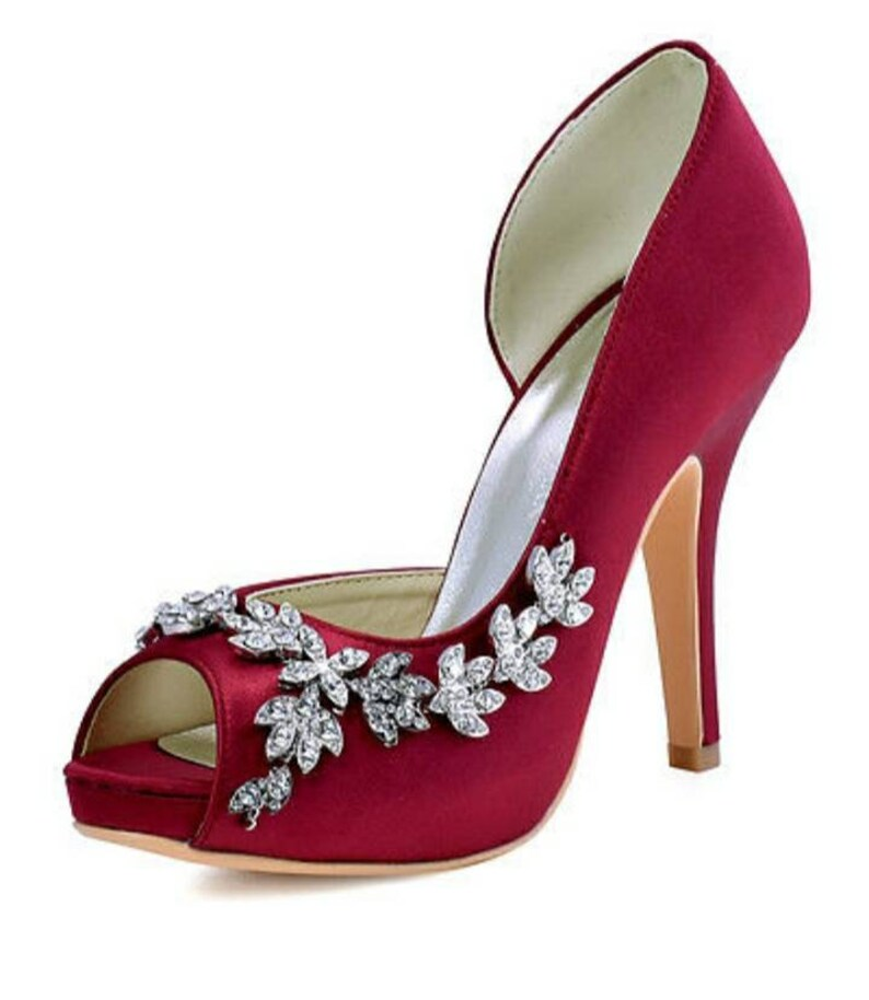 Red Satin Shoes Red Bridal Shoes Satin Bridal Shoes Red