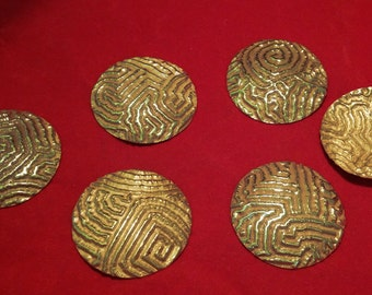 6 X Vintage Miriam Haskell Russian Gold Plate Disc Stamping Findings