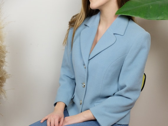 Blue wool and cashemere jacket, vintage - image 3