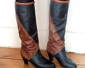 High Heels boots, bicolore leather, vintage, size 36