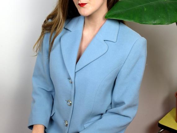 Blue wool and cashemere jacket, vintage - image 2