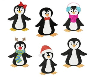 Embroidery Design Set XMas Penguins 4'x4' - DIGITAL DOWNLOAD PRODUCT