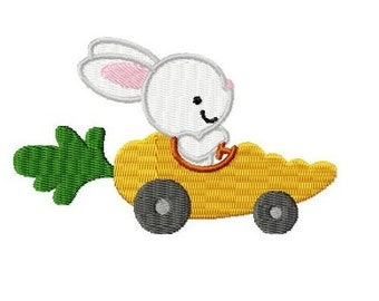 Embroidery Design Racing Rabbit 4'x4' - DIGITAL DOWNLOAD PRODUCT