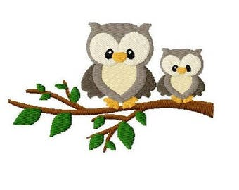 Embroidery Design Owls on a branch 4'x4' - DIGITAL DOWNLOAD PRODUCT