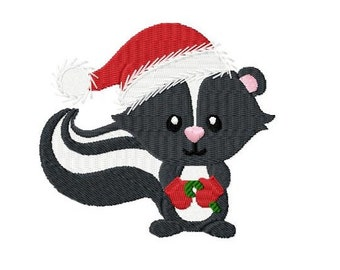 Embroidery Design Christmas Skunk 4'x4' - DIGITAL DOWNLOAD PRODUCT