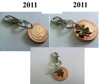 7th Wedding Anniversary Gift Copper Wedding Anniversary Present bag charm British 2011 coin gift for a woman