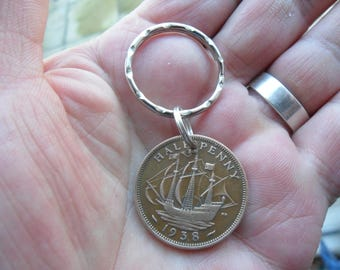 80th Birthday Gift 1938 Halfpenny Coin Keyring British For A Man