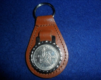 75th Birthday Gift 1943 British coin Silver Shilling brown leather keyring unusual gift  75th birthday gift for a woman gift for a man
