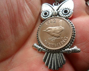75th birthday gift Owl bag charm owl gift with British 1943 bird coin gift for a woman gift for a man 75th birthday present