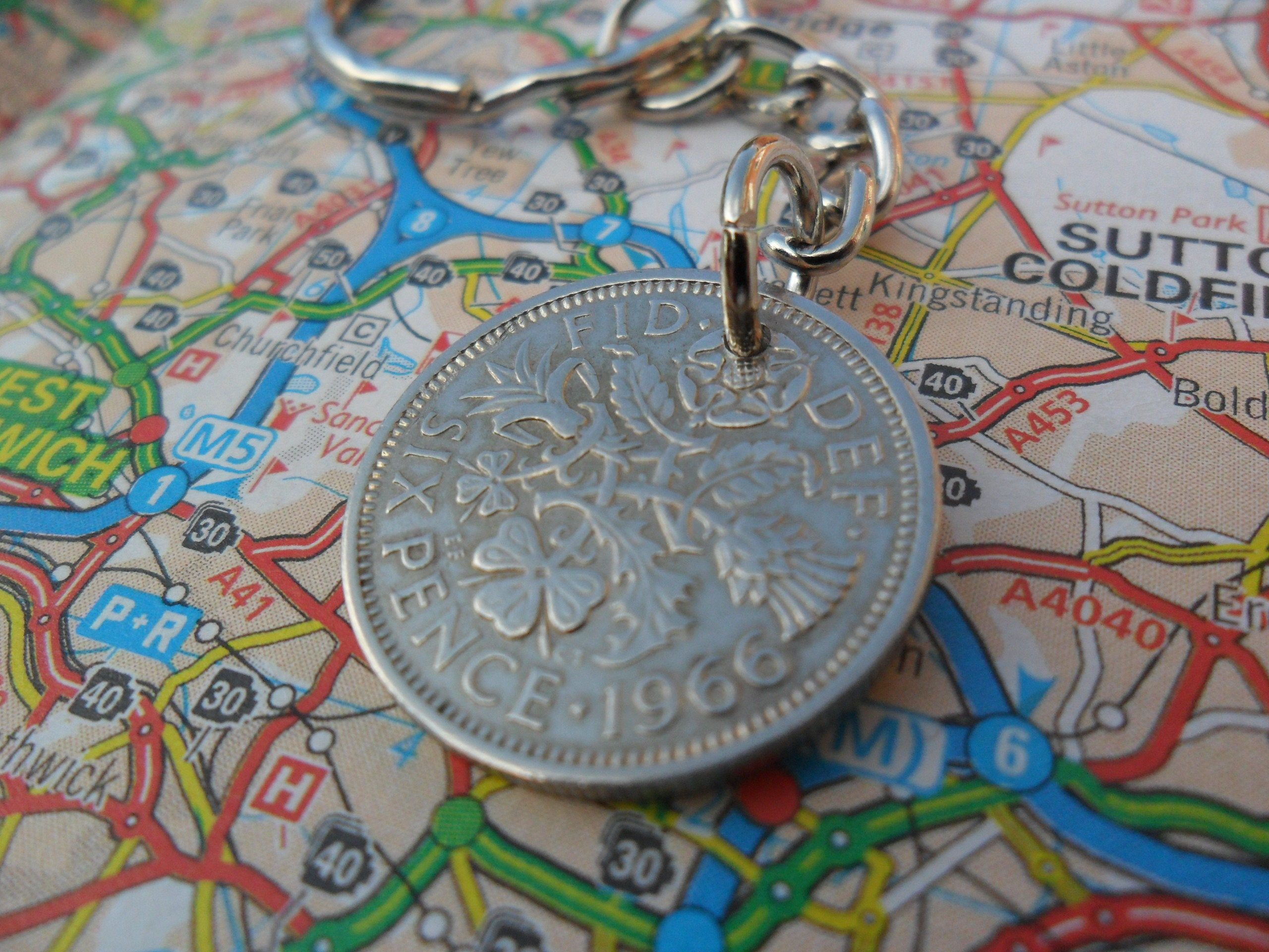 62nd Birthday Gift 1956 Lucky Silver Sixpence Coin Key Ring Charm