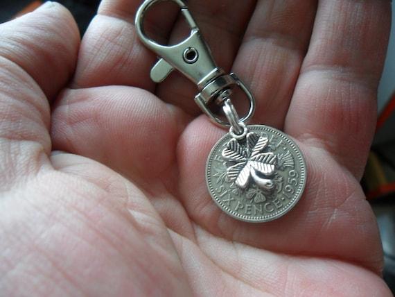 1959 60th birthday lucky UK Sixpence Owl bird key ring wedding Silver card box