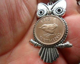 75th birthday gift Owl keyring owl gift with British 1943 bird coin gift for a woman gift for a man 75th birthday present