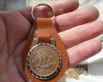 75th Birthday present 1943 lucky halfpenny coin brown leather keyring unusual gift 75th birthday gift for a woman gift for a man British