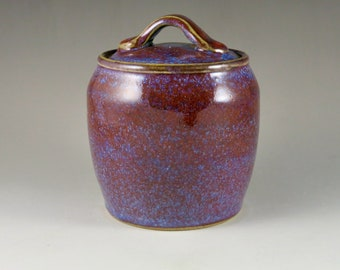 Blue and Red Stoneware Gas Fired Jar, Unique Gift, Birthday Gift 92111
