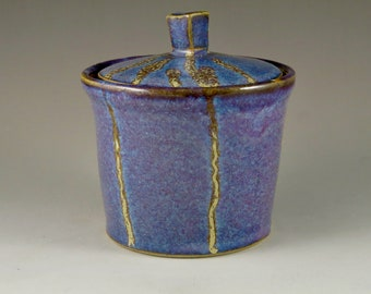 Blue and Yellow Gas Fired Stoneware Lidded Jar, Covered Jar, Unique Gift, Wedding Gift, Birthday Gift 92112