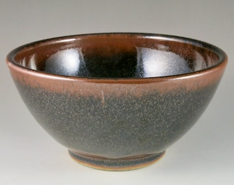 Brown and Red Gas Fired Stoneware Bowl, Serving Bowl, Unique Gift, Wedding Gift, Birthday Gift 92106