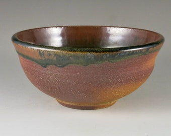 Brown and Red Stoneware Wood Fired Bowl, Serving Bowl, Unique Gift, Birthday Gift 82101