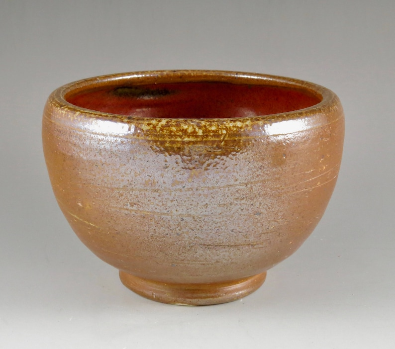 Unique Gift Birthday Gift 111731 Serving Bowl Brown and Red Stoneware Soda Fired Bowl