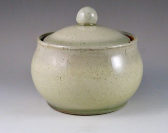 Cream and Green Stoneware Gas Fired Jar, Unique Gift, Birthday Gift 92110