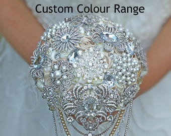 Ref F21 Bridesmaids Brooch Bouquet Jewelled Wedding Posy Flowers Accessory Handmade Flowers Colours