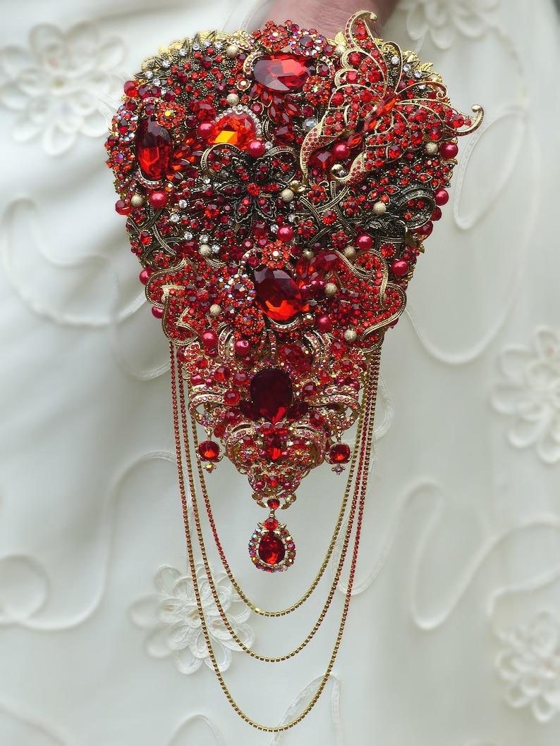 0dc7696ecba71 Ref A5 Brides Brooch Bouquet Keepsake Sparkle Cascading Shower Wedding  Teardrop Handmade Red Crystal
