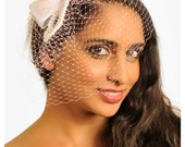 Belle- Pink Veil, Birdcage Veil, Color Veil, Wedding Veil, Wedding Hair Accessory, Wedding Hair Piece, Short Veil, Free Shipping