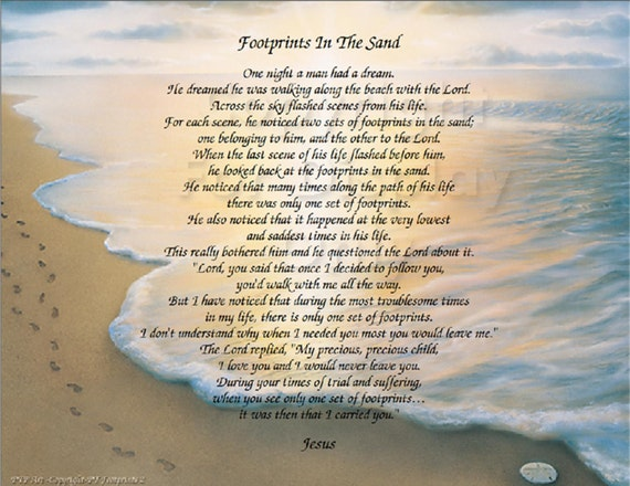 photo regarding Footprints Poem Printable named The Footprints within the Sand poem - Christian Poem - Inspirational Print - Prepared in direction of Body Wall Plaque Reward strategy Ocean Seaside Scene