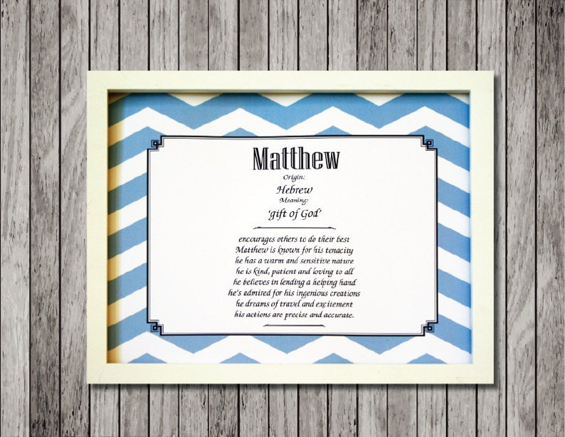 Baby Name Meaning Nursery Print with Character Traits ready to frame custom  made for either boy or girl  Great baby shower gift