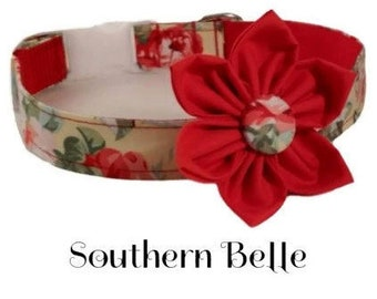 Girl Collar and Flower/Southern Belle/Floral Dog Collar/Girly Dog/Pink Dog Collar/Extra Small Dog/Large Dog/Dog Collar Flower/Handmade