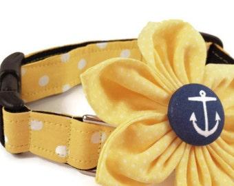 Girl Dog Collar and Flower/Yellow Polka Dot/Polka Dot Dog Collar/Dog Collar Flower/Girly Dog Collar/SmallDogs/Large Dogs/Handmade