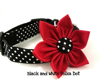 Girl Dog Collar and Flower Set/Black and White Polka Dot/Girly Dog Collar/Red Dog Collar Flower/Adjustable/Small Dogs/Large Dogs/Handmade