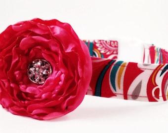 Girl Dog Collar and Flower/Colorful Fuchsia Pink Scroll/Pink Dog Collar/Dog Collar Flower/Girly Dog /Extra Small Dog/Large Dogs/Handmade