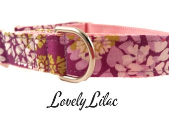 Floral Lavender Dog Collar, Lovely Lilac, Adjustable Sizes forextra small, small, medium, large and Extra Large dogs Handmade