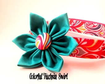 Girl Dog Collar and Flower Set / Girly Dog Collar/Colorful Fuschia Swirl/Pink Dog Collar/Dog Collar Flower/Adjustable/small dogs/ large dogs