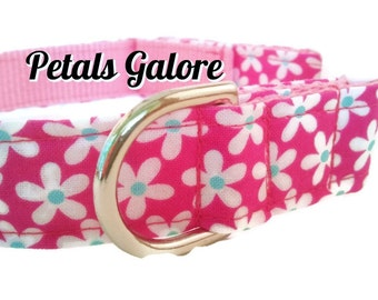 Pink  Dog Collar, Girly,  Petals Galore, Adjustable Sizes for small, medium, and extra large dogs Handmade