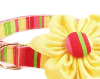 Girl Dog Collar and Flower/Pink Lemonade/Pink Dog Collar/Striped Dog Collar/Girly Dog/Dog Collar with Flower/Small Dogs/Large Dogs/Handmade