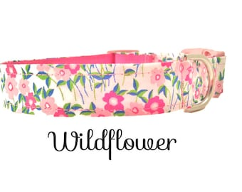 Girl Dog Collar, Pink,Wildflower, Adjustable Sizes for extra small to Extra Large dogs, Girly Floral Dog Collar, Handmade