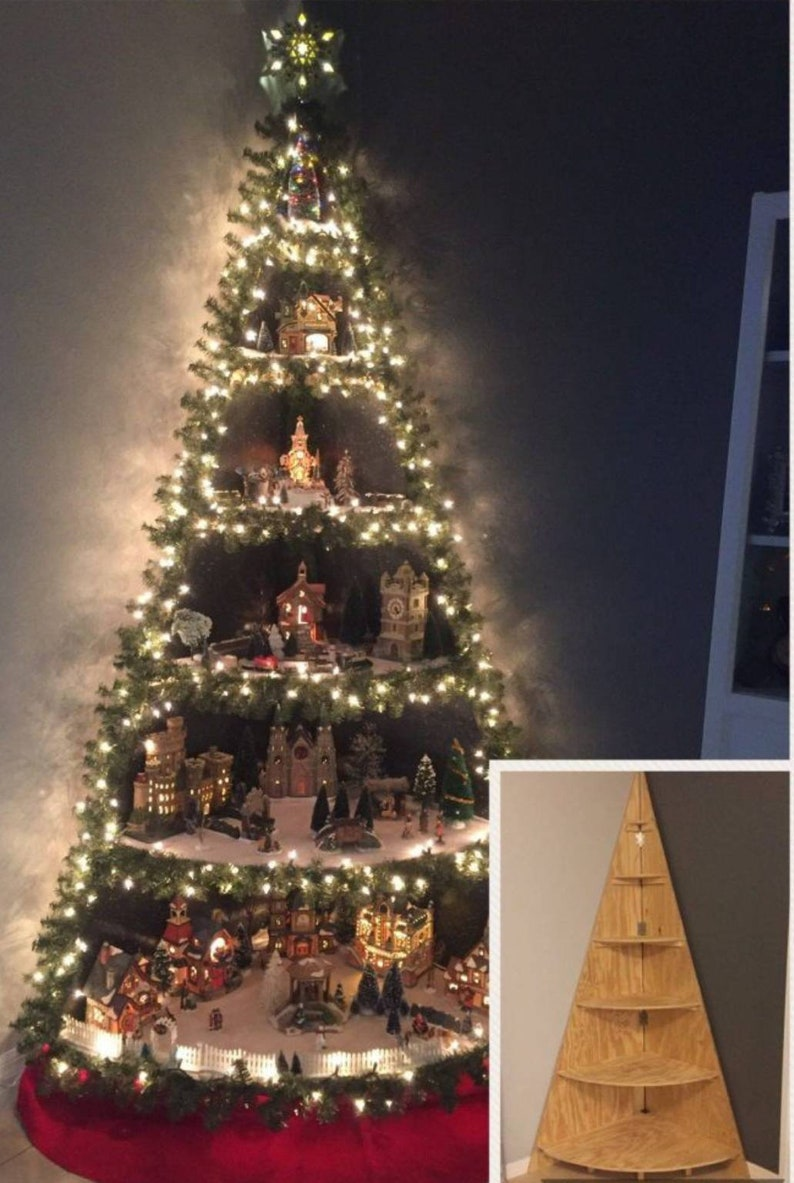 3ft Wooden Christmas Tree Corner Shelf Christmas Village