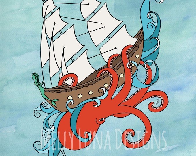 Into the Brink Print, Shipwreck, Octopus, Mermaid, Watercolor, Illustration