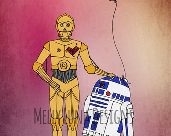 R2D2 and C3PO Inspired Print, Mouse Droid, Death Star