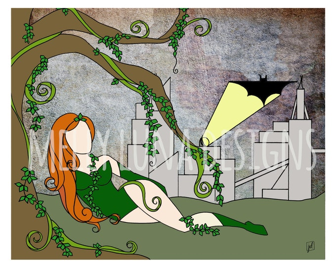 Poison Ivy Inspired Print, Contemplating the Bat Signal