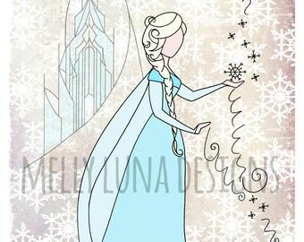 Elsa Inspired Print, Frozen world, Elsa casting spells