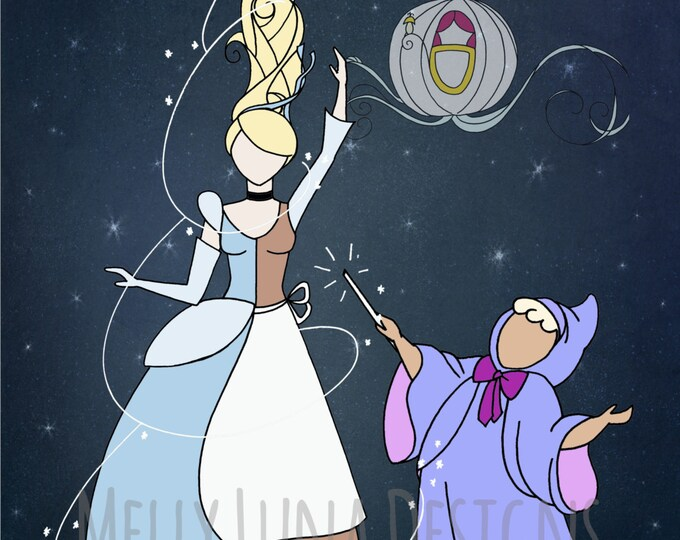 Cinderella Inspired Print, Bibbity Bobbity, Fairy Godmother