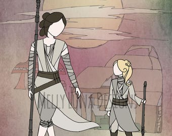 Rey and her Little Protege, Inspired by The Force Awakens