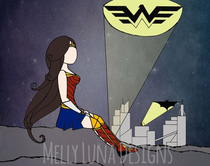 Wonder Woman Inspired Print, Overlooking Gotham, Amazon, DC Comics
