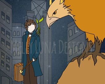Fantastic Beasts Inspired Print, Newt and his Creatures, the world of Harry Potter