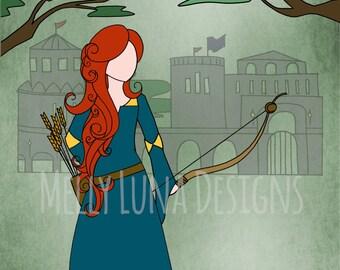 Brave's Merida Inspired Print, Brave movie, Merida arrow