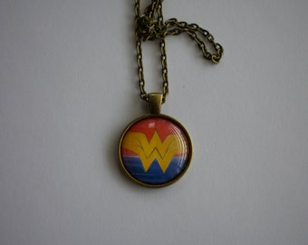 Wonder Woman Symbol Acrylic Painting, 1-Inch Pendant Necklace