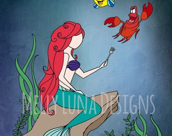 Little Mermaid Inspired Print, Ariel, Flounder, Sebastian, Look at this Stuff