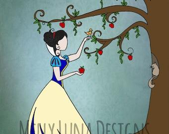 Snow White Inspired Print, Forbidden Forest, Apple Tree